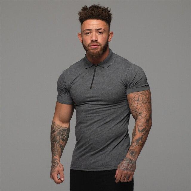 Muscleguys-Polo de moda para hombre, camisa informal de manga corta de Color liso, ajustada, de alta calidad, para Fitness 3