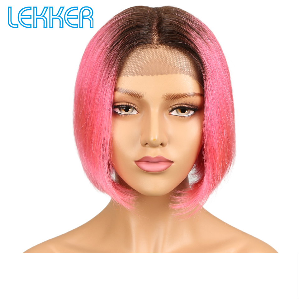 Lekker Brazilian Straight Short Bob Lace Front Human Hair Wigs For Women Pink Caramel Red Colors Cosplay Middle Part Lace Wigs