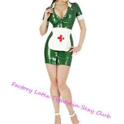 Látex de borracha cosplay costome enfermeira vestido & avental conjuntos uniforme látex feminino saias sexy botão frontal trajes de halloween para mulher