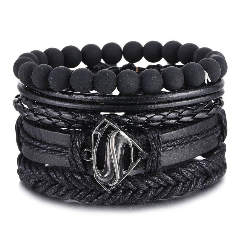 IFMIA Vintage Black Bead Bracelets For Men Fashion Hollow Triangle Leather Bracelet & Bangles Multilayer Wide Wrap Jewelry 2020(China)