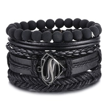 IFMIA Vintage Black Bead Bracelets For Men Fashion Hollow Triangle Leather Bracelet & Bangles Multilayer Wide Wrap Jewelry 2020