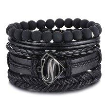 IFMIA-Pulseras de cuentas Vintage para hombre, brazaletes de cuero de triángulo hueco a la moda, joyería de envoltura ancha multicapa, color negro, 2020