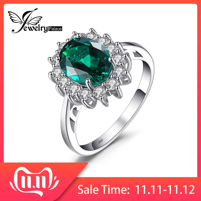 JewPalace Princess Diana จำลอง Emerald แหวน 925 เงินสเตอร์ลิงแหวนแหวนหมั้นแหวนเงิน 925 เครื่องประดับอัญมณี