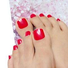 Nail-Tips False-Toenail Manicure-Tool Artificial Design Deep Red for DIY Foot Shiny