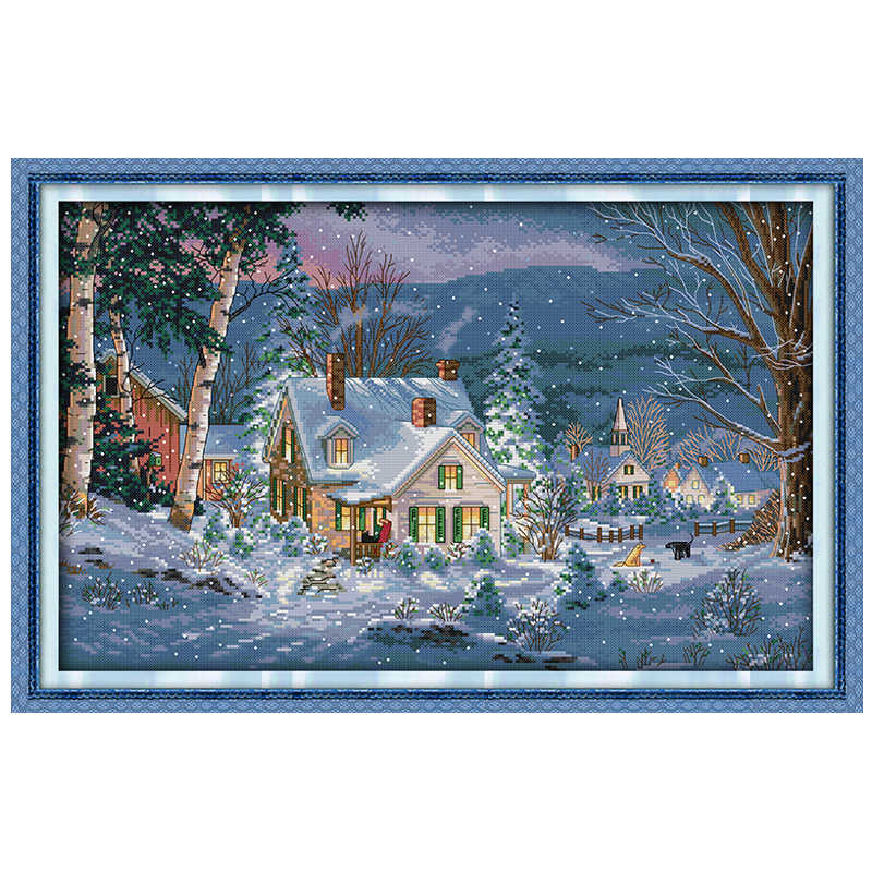 The snowy night of Christmas counted DMC 11CT 14CT DIY kit Chinese wholesale Cross Stitch embroidery needlework Sets home decor