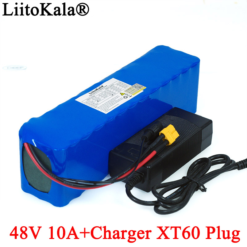 LiitoKala E-bike <font><b>battery</b></font> <font><b>48v</b></font> 10ah 18650 li-ion <font><b>battery</b></font> pack bike conversion kit <font><b>1000w</b></font> XT60 plug + 54.6v 2A Charger image