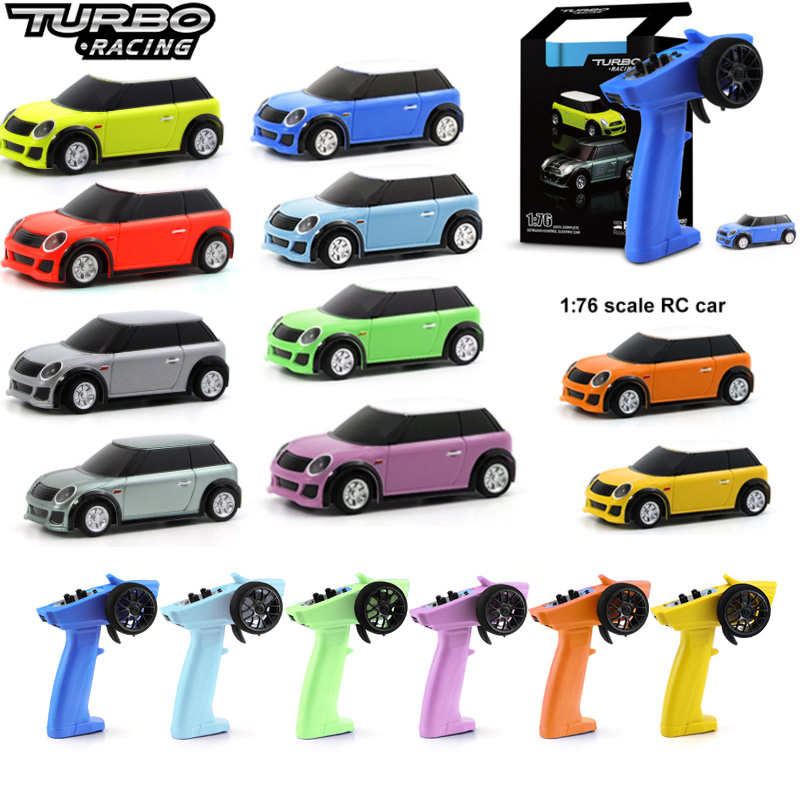 Turbo Racing 1:76 Colorful RC Car Mini Full Proportional With Remote Electric RTR Kit Control Toys For Kids and Adults