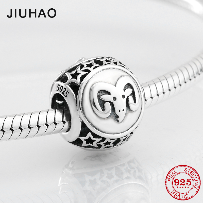 925 Sterling Silver Fashion 12 Constellation Appealing Aries Beads Fit Original Pandora Charm Bracelet Jewelry Making 2018