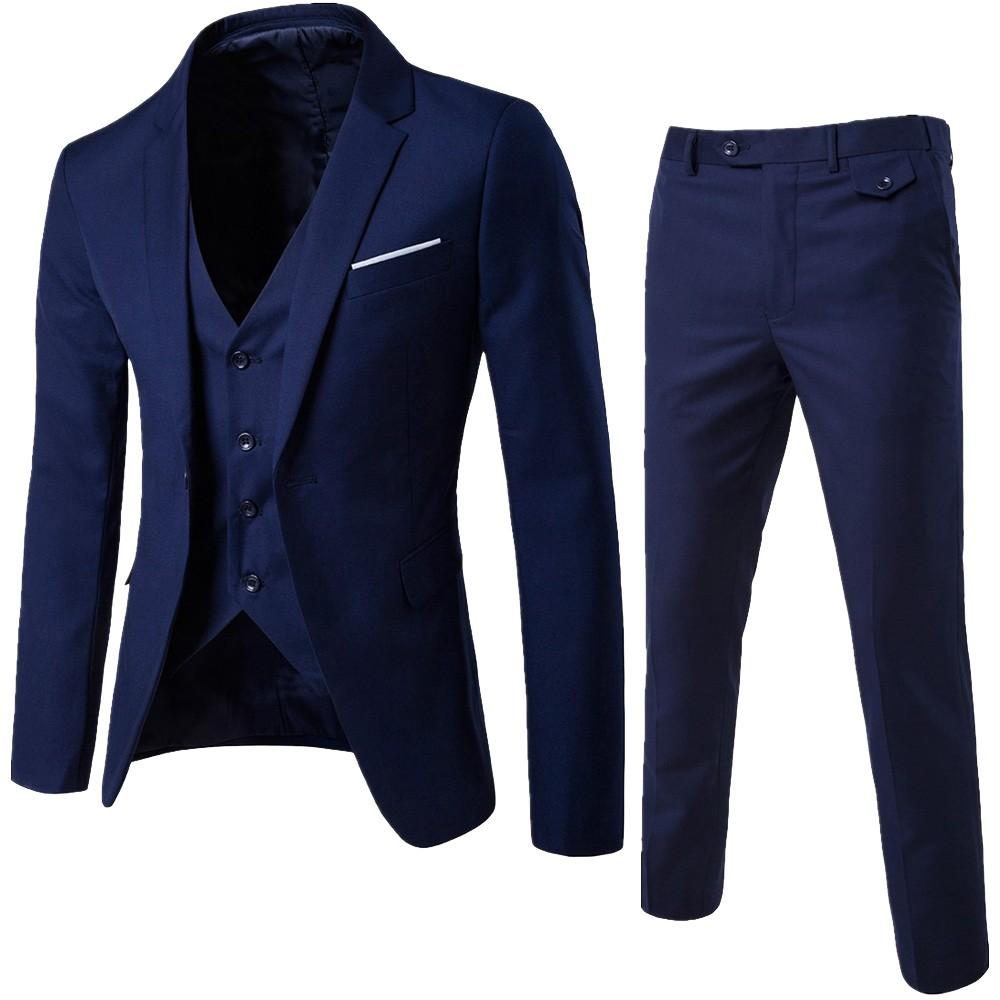 Men's 3 Pieces Black Elegant Suits With Pants Brand Slim Fit Single Button Party Formal Business Dress Suit Male Terno