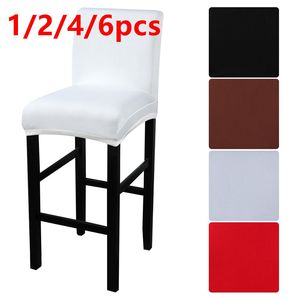 1/2/4/6pcs Solid Bar Chair Cover Elastic High Stool Chair Protector Seat Cover Slipcover Hotel Banquet Wedding Party Dining Room(China)