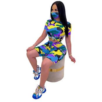 Casual Women Two Piece Set Shirt Crop Top + Pants Camouflage Tracksuit Sport Suit Clothes For 5 Color