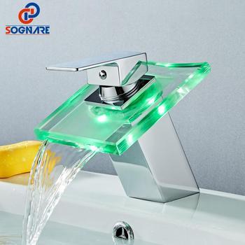 SOGANRE LED Basin Faucet Brass Waterfall Temperature 3 Colors Change Bathroom Mixer Tap Deck Mounted Wash Sink Glass Taps Crane