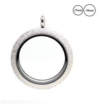 Redondo plateado brillante magnético relicario de acero inoxidable flotante encantos medallón de cristal memoria colgante para mujer DIY joyería