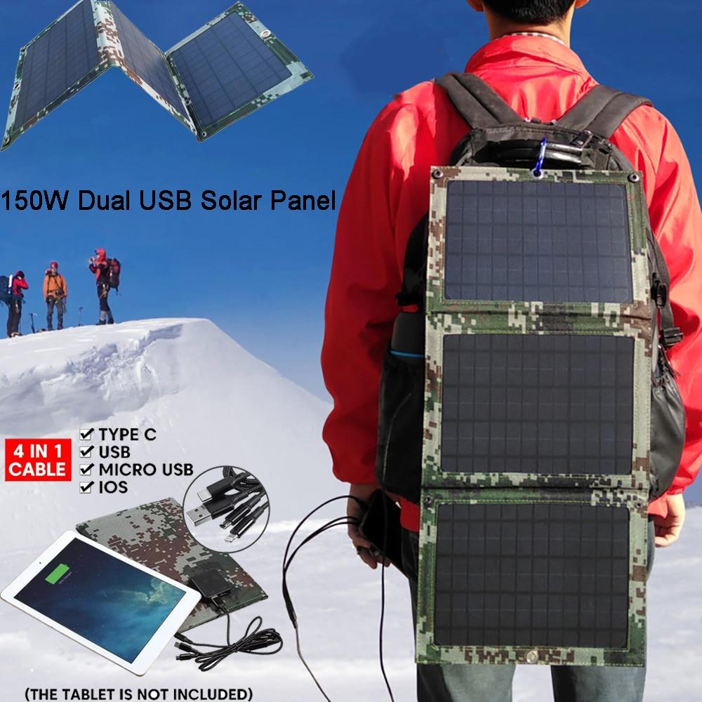 Dobrável 150w dupla usb painel solar ao ar livre dobrável à prova dwaterproof água carregador de bateria de energia móvel com 4 em 1 cabo|Células solares|   -