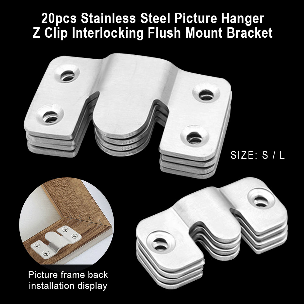 TEHAUX 120pcs Flush Mount Bracket Interlock Bracket Furniture Connector Stainless Steel Photo Frame Hook Picture Hangers for for Mirror and Cabinet Picture Display