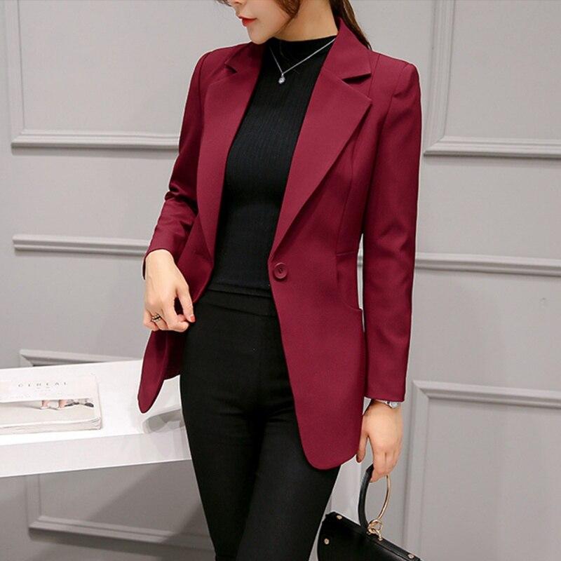Women Blazers Formal Lady Work Jackets Single Button Slim Suit Solid Women Coat For Women