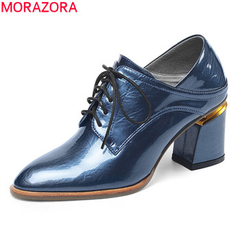 MORAZORA Big size 33-43 2020 fashion women pumps thick high heels pointed toe ladies shoes genuine leather dress shoes