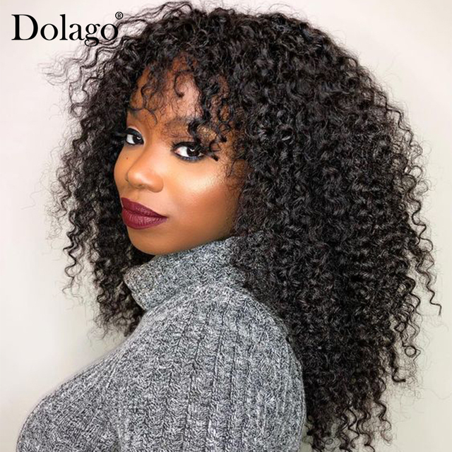 $ US $72.00 Deep Curly 360 Lace Frontal Wig With Bangs 250 Density Brazilian 13x6 Lace Front Human Hair Wigs Bob Cut Pre Plucked Dolago Remy