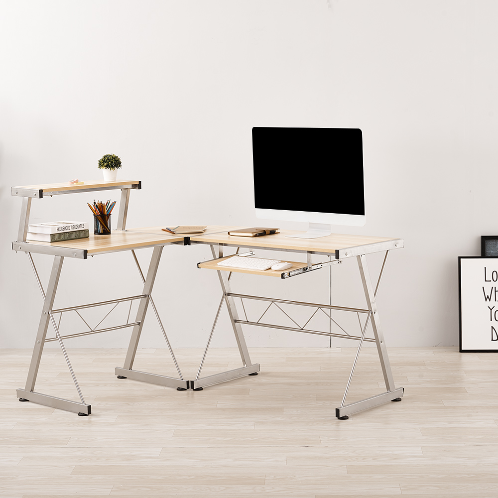 Panana L-Shaped Corner Computer Office Desk Workstation With Pull Out Keyboard Corner Table Home Laptop Table Fast Delivery