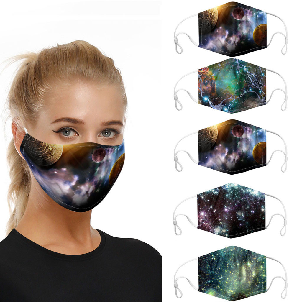 Pack of 5x Masks Starry Sky Print Ear-hook Outdoor Anti-pollution Replaceable Gasket Washable