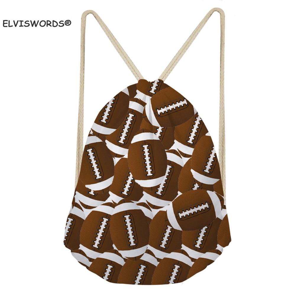 ELVISWORDS Rugby Football Balls Drawstring Bags Ball Toy Storage Sack For Child Custom Logo Shoes Bags Gym Bag For Men Teenage