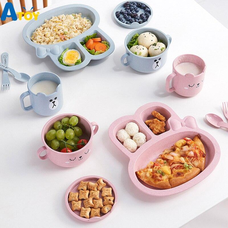 3Pcs/Set Baby Bowl Spoon Fork Feeding Food Tableware Cartoon Rabbit Kids Dishes Eating Dinnerware Anti-hot Training Dinner Plate
