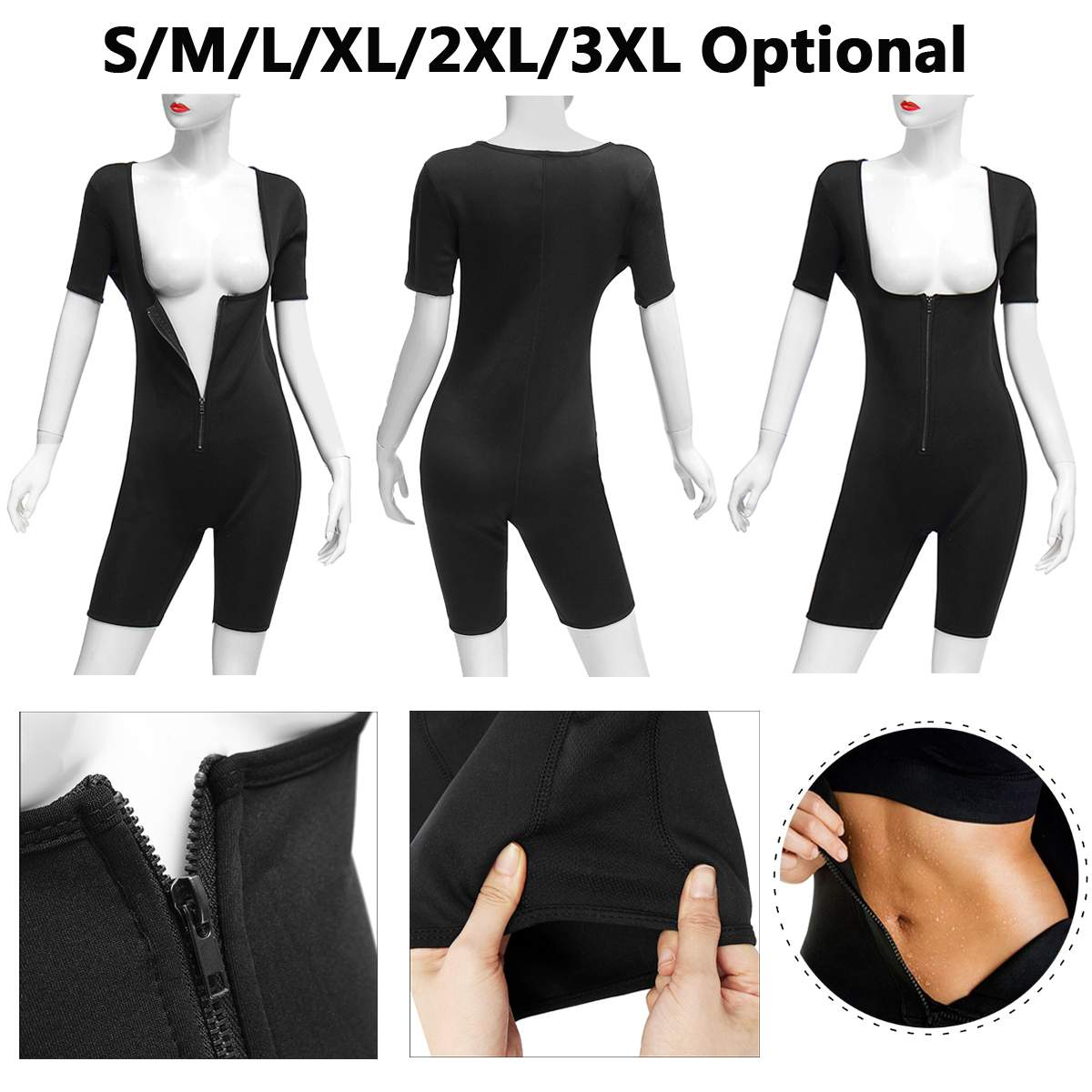 Sweat Neoprene Women Full Body Shaper Bodysuit Shapewear Suit Regular Size Zip