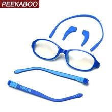 Peekaboo детские силиконовые очки для детей ультра светильник прозрачные линзы черный мальчик оптические очки для девочек анти синий светильник