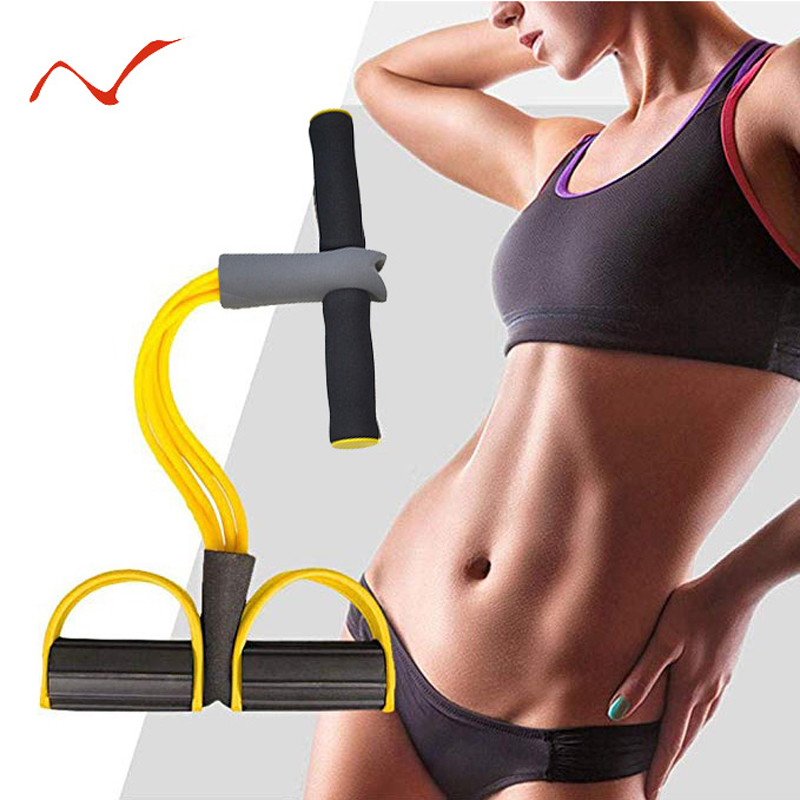 2019 New 4 Tube Latex Resistance Bands Sit-up Expander Elastic Bands Yoga Pilates Workout Fitness Gum Pull Rope