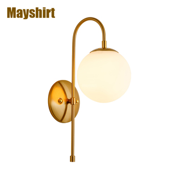 Modern Glass Wall Lamps Gold Iron Led Wall Light Industrial Bar Bedroom Lamp Wall Sconce Mirror Lights Industrial Bar Home Decor