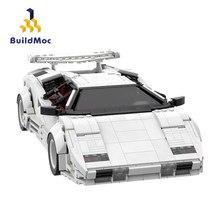 Buidlmoc techniczna prędkość samochodu mistrzowie miasta Racer Countachs QV twórca pojazdu ekspert MOC zestawy Model klocki zabawki dla dzieci