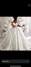 Fsuzwel Prachtige Applicaties Kapel Train Lace Baljurk Trouwjurk 2020 Sexy Hals Lange Mouwen Kralen Prinses Bruid Gown