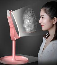 Led makeup mirror with light fill light girl heart student dormitory portable small mirror desktop(China)