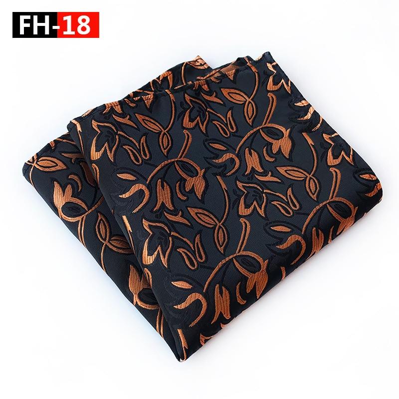 Luxury Floral Silk Pocket Square 25*25CM Men's Vintage Floral Paisley Jacquard Woven Handkerchief  Wedding Party Chest Towel