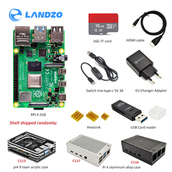 Raspberry Pi 4 B 2GB kit 3 arten von fall + EU power adapter + schalter linie + 16 GB/32 GB TF karte + USB kartenleser + HDMI kabel