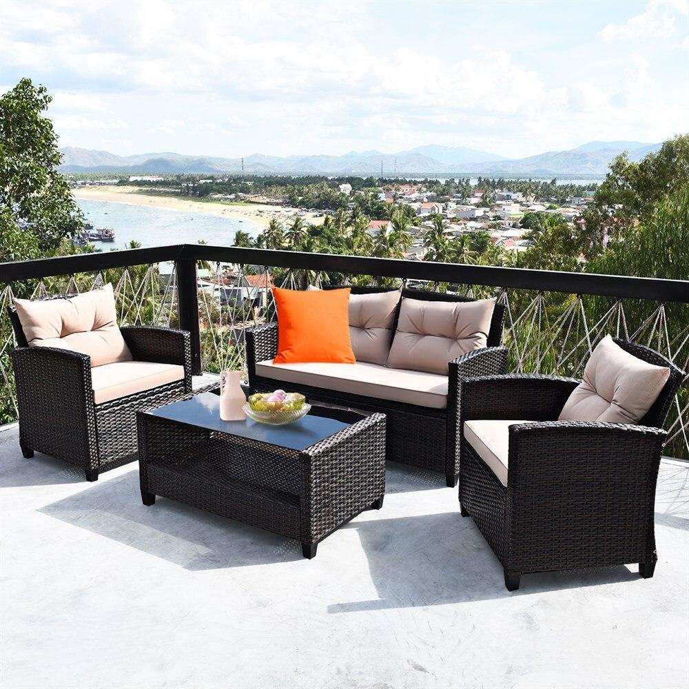 Costway 4PCS Outdoor Rattan Furniture Set Cushioned Sofa Armrest Table
