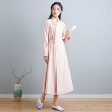 2019 chinese winter new Tang style long dress women pink