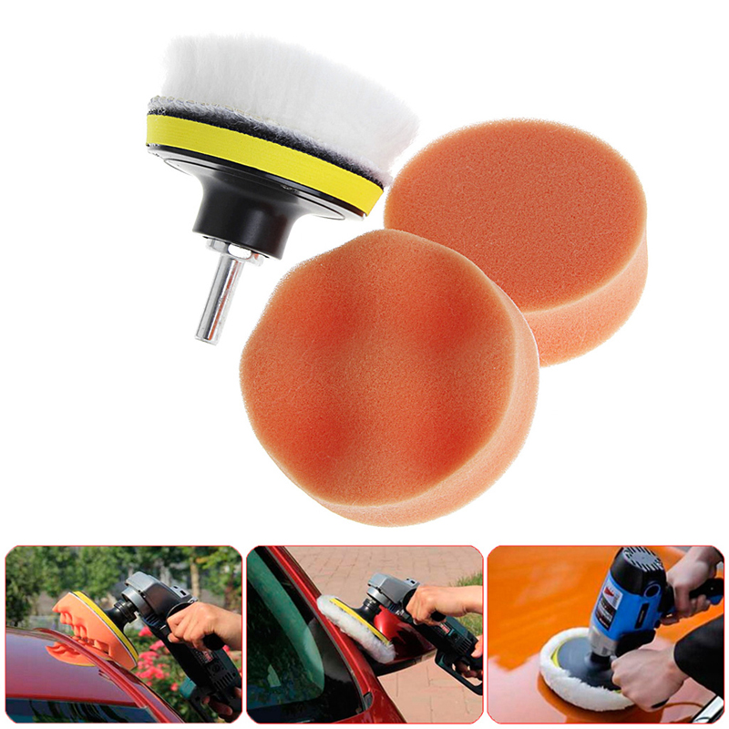 5Pcs 3 Inch 4Inch 5Inch M10 Sponge Waxing Buffing Polishing Pad Kit With Drill Adapter