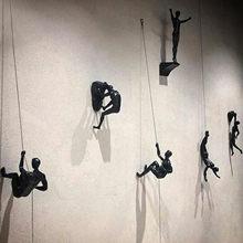 Fundo escalada homem resina fio de ferro parede pendurado decoração escultura figuras criativo retro presente estátua pendurado decoração