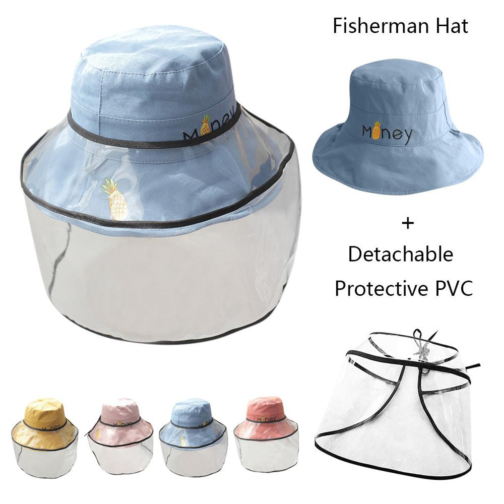 Kids Fisherman Hat Anti-spitting Protective Mask Hat Sunhat Plaid Removable Dustproof Transparent Plastic Facemask Cover Hat #20