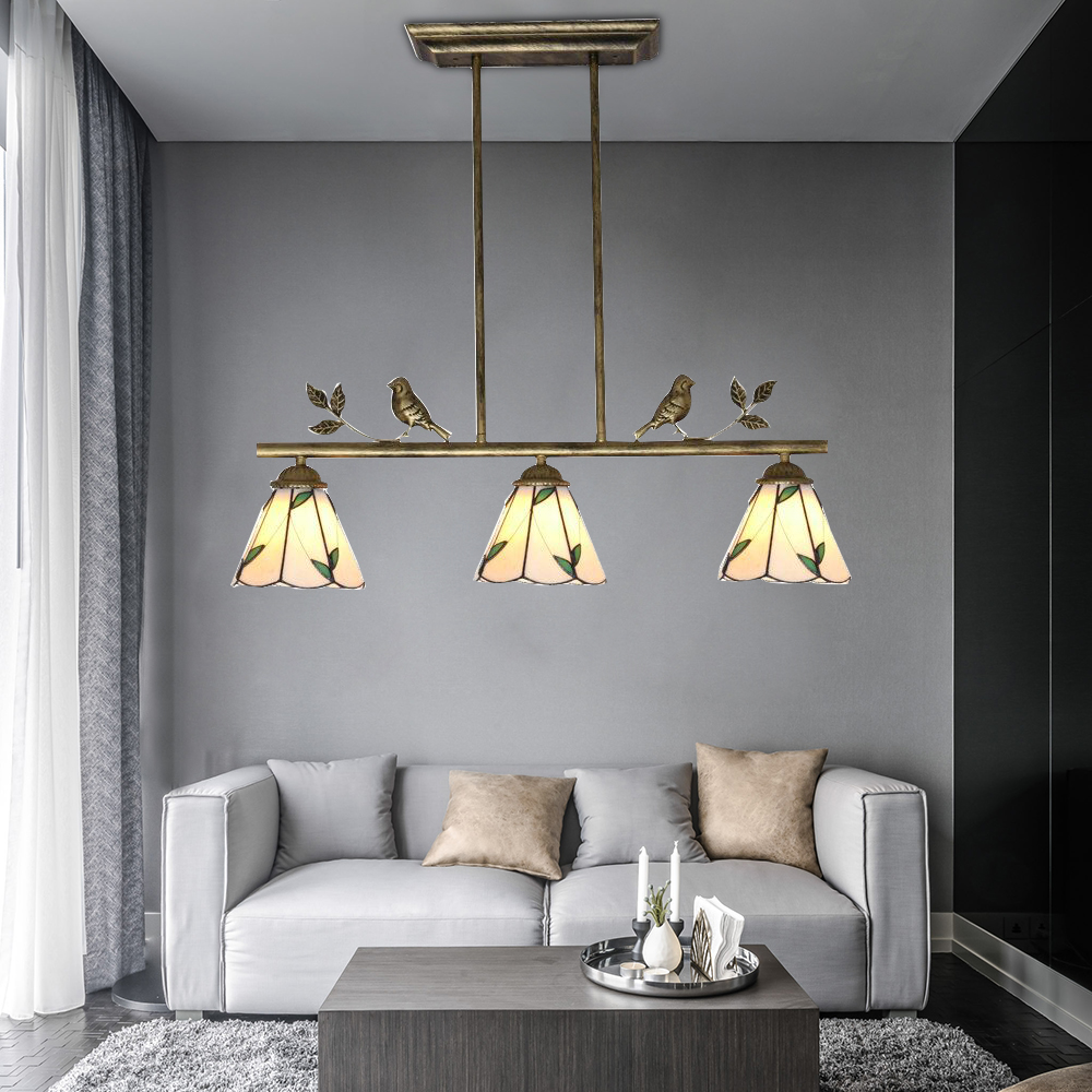 Artpad Mediterranean Mosaic Decoration Modern Pendant Light Stained Glass Lampshade LED Adjustable Hanging Lamp For Living Room