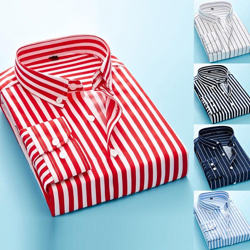 High Quality Mens Business Casual Long Sleeved Men Plus Size Shirt Classic Striped Male Social Dress Shirts Plaid Brand Clothing