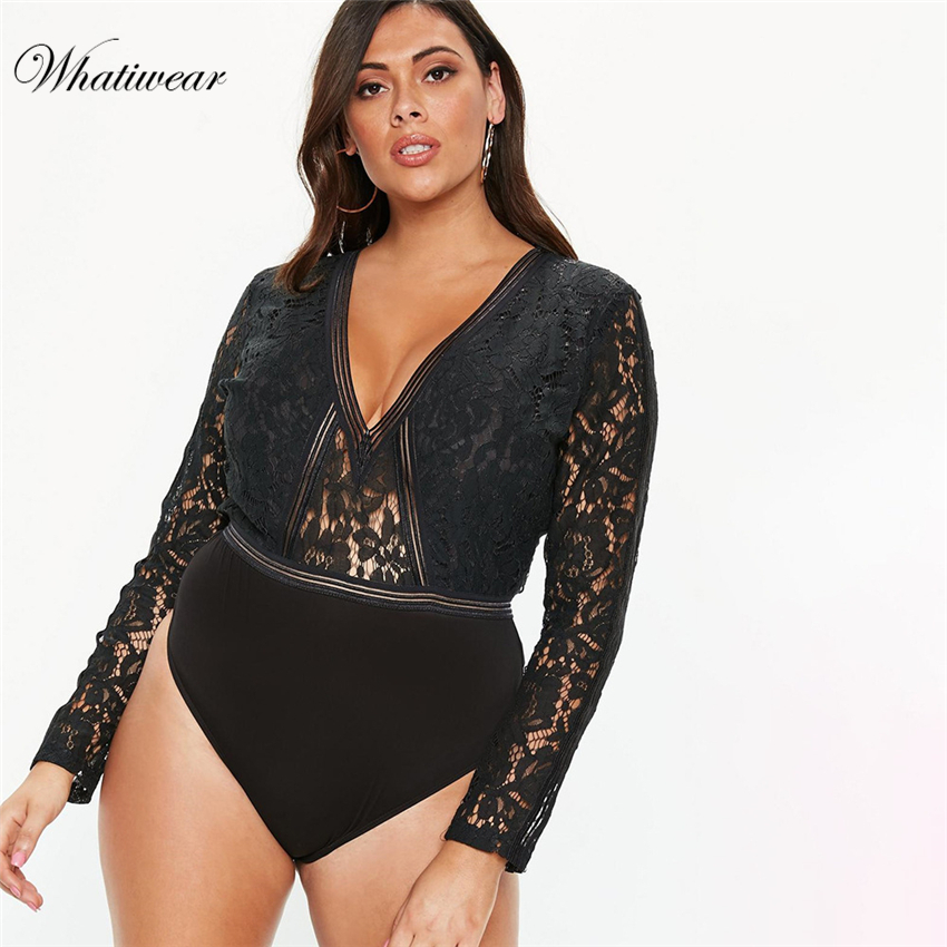 Whatiwear 2019 Plus Size Deep V Neck Embroidery Bodysuit Women Long Sleeve Transparent Sexy Lace Body Romper Summer   Jumpsuit