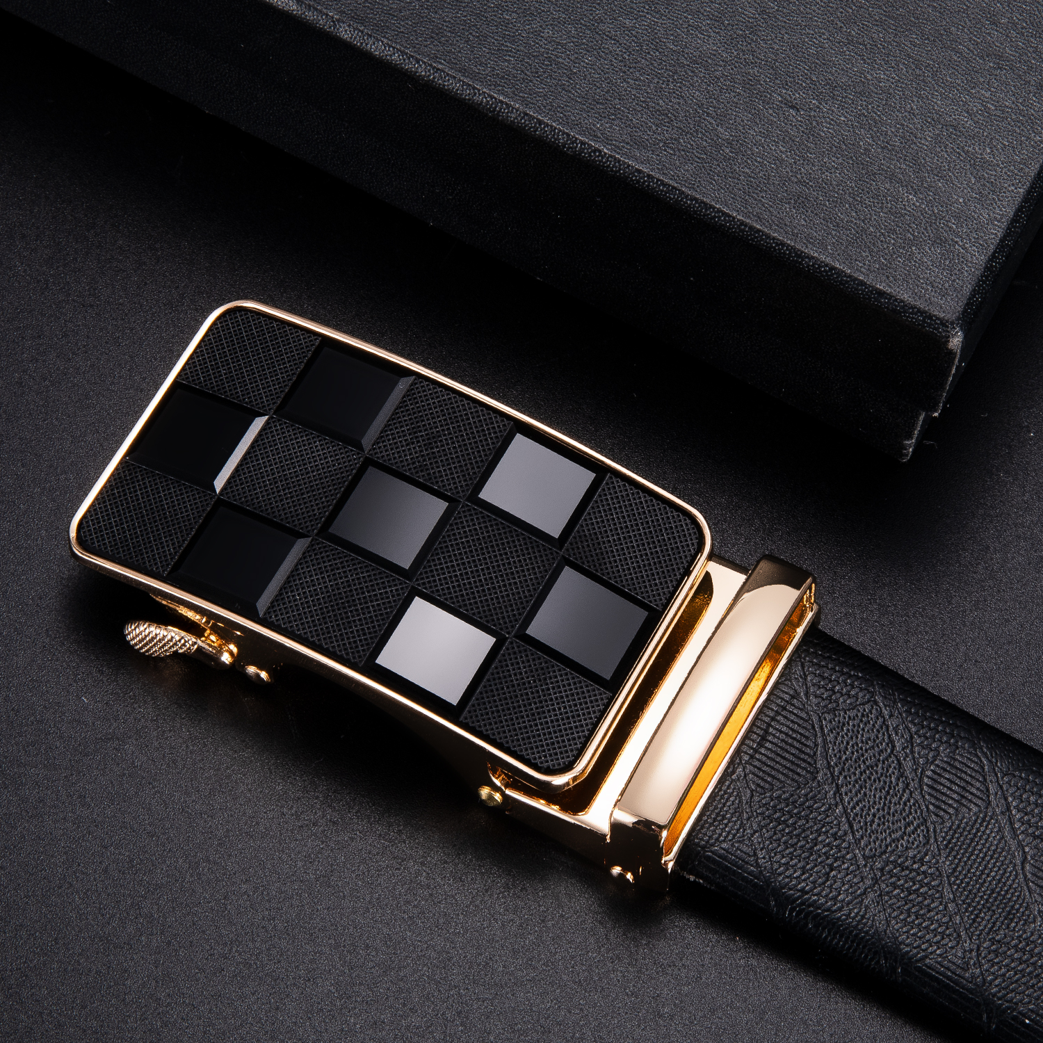 Hi-Tie Brand Fashion Plaid Automatic Belt Buckles For Men 3.5cm Width Luxury Business Desginer Unique Cowboy Metal Buckle Head