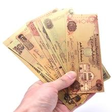 7 шт. Саудовская ОАЭ банкноты в центре сообщений в течение 24k Gold сбор бумажных денег памятная