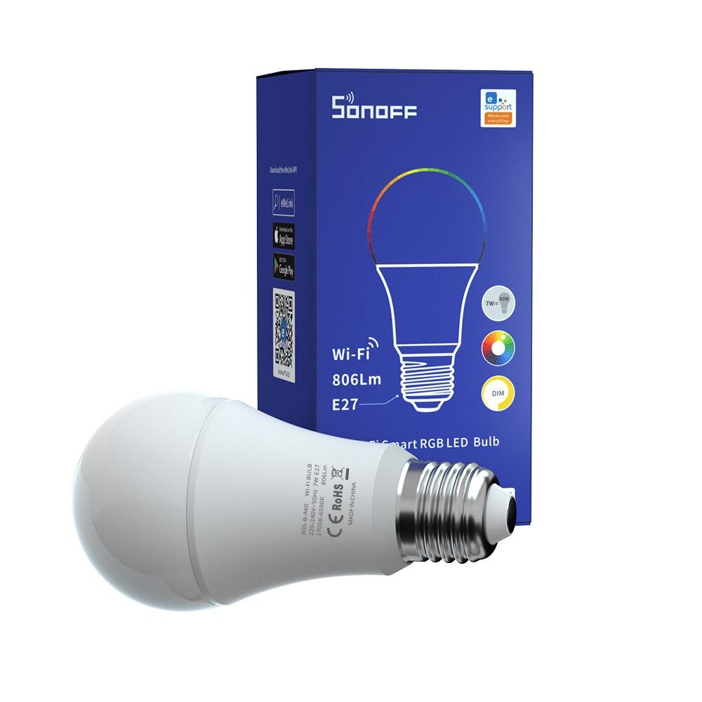 SONOFF B02-B-A60 / B05-B-A60 Умная светодиодная лампа WiFi E27 Лампа RGB с регулируемой яркостью 9 Вт 220 В-240 В Умный дом Управление через приложение eWeLink