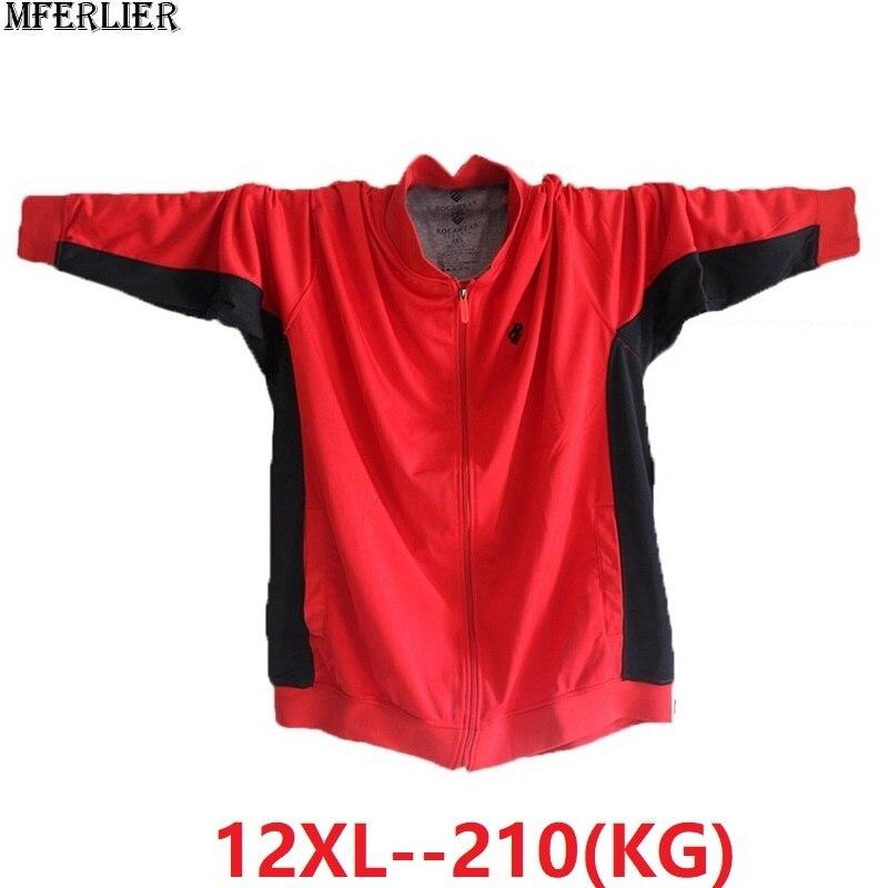 Spring Men Jackets Patchwork Sweatshirts Zipper Sports Hoodies Fleece Plus Size 9XL 10XL 11XL 12XL Oversize Coat Loose 68 70 66