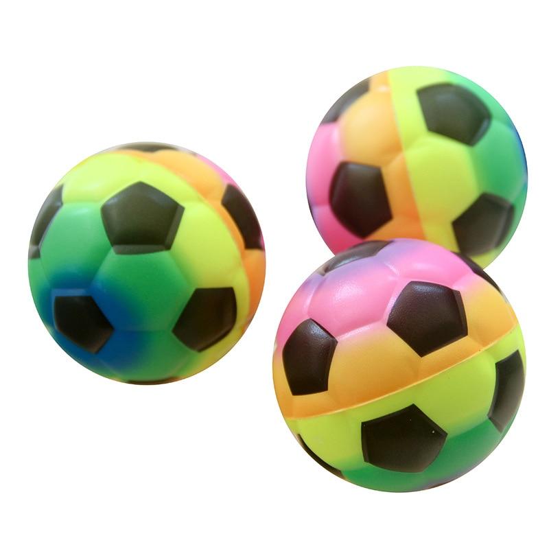 Produto genuíno 10 5cmpu Esponja Bola Rainbow Anúncio De Futebol Pequenos Presentes Desabafar Brinquedo Das Crianças Bola Estresse Bola de Pulso - 3