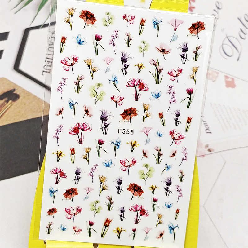 3Dสติกเกอร์สำหรับเล็บดอกไม้ผีเสื้อDesigns Nail Artตกแต่งฟอยล์Decalsเล็บอุปกรณ์เสริมDecoraciones