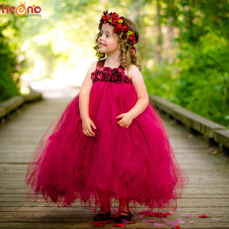 Flower Girl Princess Dress Party Birthday Pageant Wedding Formal Kids Tutu Dress